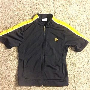 Short sleeved dark blue and gold Puma track jacket